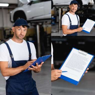 Collage of handsome mechanic in uniform and cap holding clipboard with contract and smiling in service center stock vector