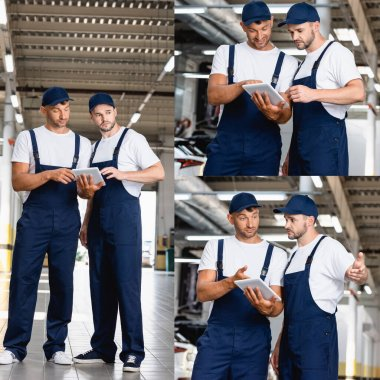 Collage of handsome mechanics in uniform looking at digital tablet in car service stock vector