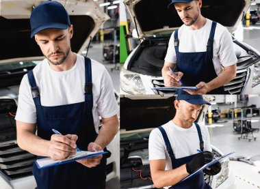 Collage of handsome mechanics in uniform writing while holding clipboards near cars stock vector