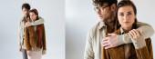 kollázs jóképű férfi átölelő nő divatos őszi ruhák szürke