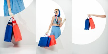 Collage of stylish girl holding red and blue shopping bags beside round hole on white background stock vector