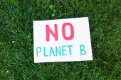 Top view of placard with no planet b lettering on grass outdoors, ecology concept