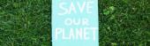 Horizontální koncept plakátu s uložením planetárního nápisu na trávě, koncept ekologie
