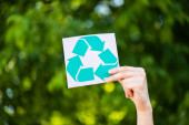Cropped view of man holding card with recycle sign in hand outdoors, ecology concept