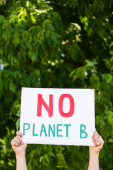 Cropped view of man holding placard with no planet b lettering in hands with trees at background, ecology concept