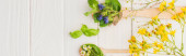 panoramic shot of herbs and green leaves in spoons near flowers on white wooden background, naturopathy concept