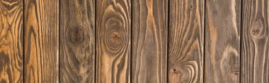 Top view of wooden brown textured surface, panoramic shot stock vector