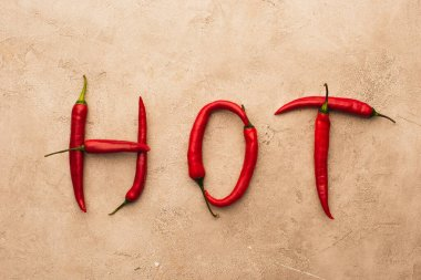 Top view of word hot made of chili peppers on beige concrete surface stock vector