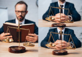 collage of bearded lawyer holding book and sitting with clenched hands near golden scales