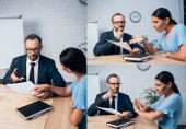 collage of bearded lawyer holding insurance documents near displeased brunette client showing no gesture in office