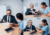 koláž vousatého právníka držícího pojišťovací dokumenty v blízkosti nespokojený brunetka klient ukazuje žádné gesto v úřadu