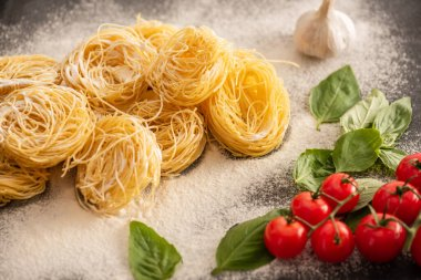 Raw Italian Capellini with vegetables and flour on black background stock vector