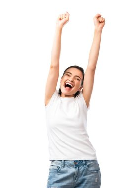 Excited young woman in white t-shirt standing with hands above head isolated on white stock vector