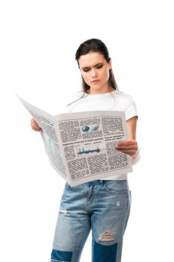Brunette woman in white t-shirt reading newspaper isolated on white stock vector