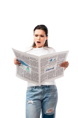 Shocked woman in white t-shirt reading newspaper isolated on white stock vector