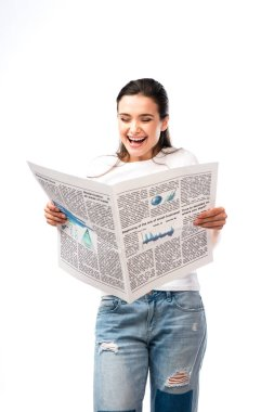Young woman in white t-shirt reading newspaper isolated on white stock vector