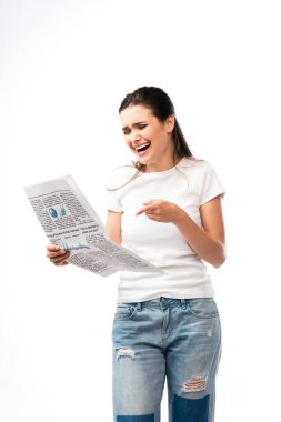 Young woman in white t-shirt pointing with finger at newspaper and laughing isolated on white stock vector