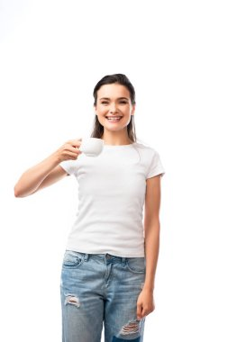 Young woman in white t-shirt holding cup with coffee isolated on white stock vector