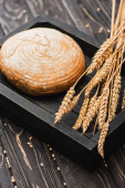 fresh baked white bread loaf with spikelets on wooden black board