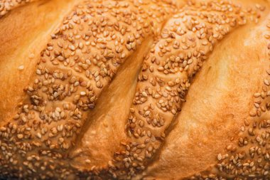 Close up view of fresh baked bread crust with sesame stock vector