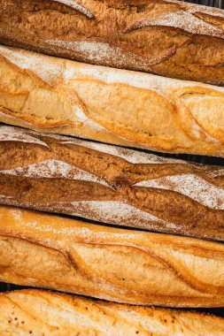 Close up view of fresh baked baguette loaves stock vector