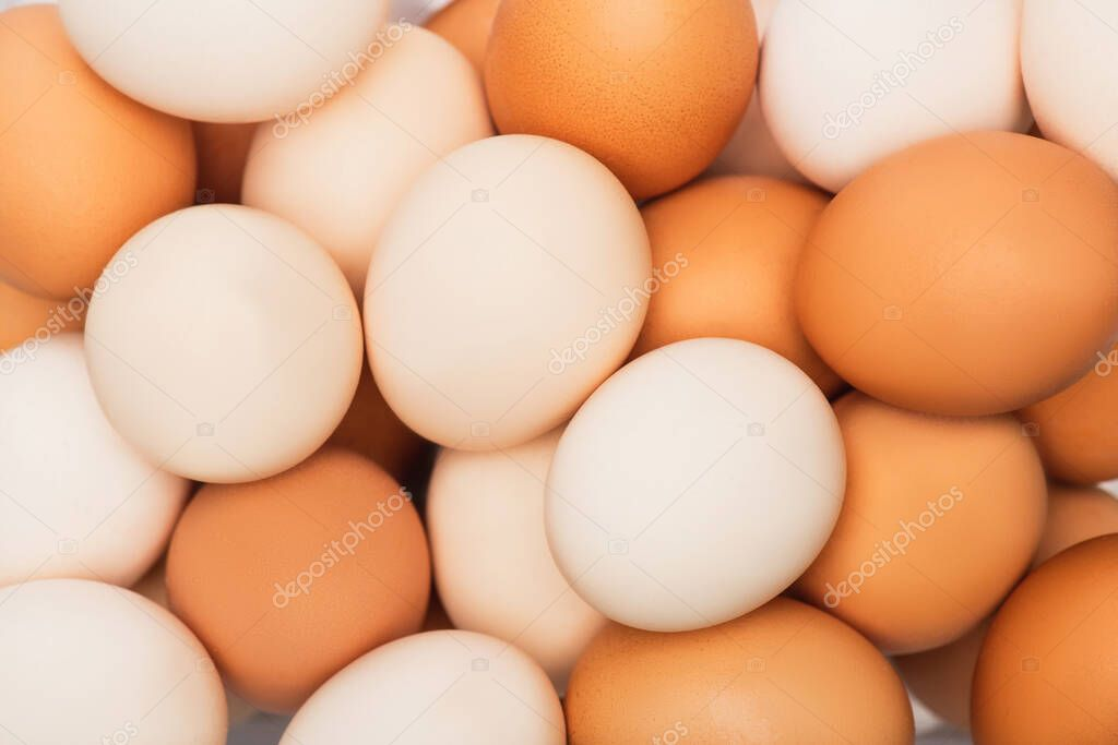 Top view of colorful fresh chicken eggs stock vector