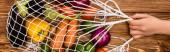 kivágott kilátás nő gazdaság húrtartó táska friss érett zöldségek fa asztalon, panoráma lövés