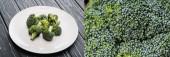 koláž čerstvé zelené brokolice na bílém talíři na dřevěném povrchu, panoramatický záběr