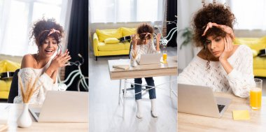 Collage of curly woman using laptop, laughing and gesturing at home stock vector