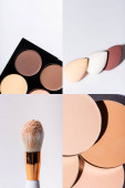 collage of contour palette, face powder, makeup sponges, cosmetic brush on white background