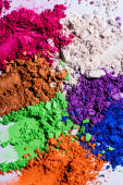 close up view of multicolored eyeshadow powder