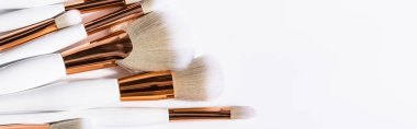 Top view of cosmetic brushes set on white background with copy space, panoramic shot stock vector