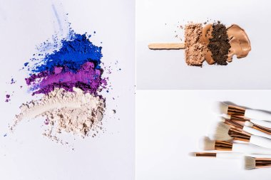 Collage of eyeshadow powder and cosmetic brushes on white background stock vector