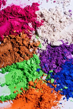 Close up view of multicolored eyeshadow powder stock vector
