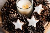 Scented candle with pine cones and cookies on wooden plate