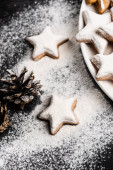 Gingerbread cookies near pine cone covered with sugar powder
