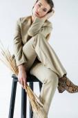 junges Model im Anzug sitzt auf einem Schemel und hält Weizenstacheln auf weiß