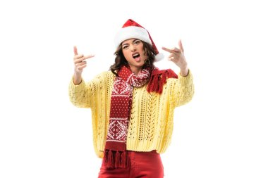Young woman with open mouth, in santa hat and scarf showing middle fingers isolated on white stock vector
