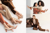 Photo collage of asian and african american models leaning on wall young model posing near suitcases on white