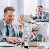 Collage eines lächelnden Geschäftsmannes mit Videoanruf auf Laptop in der Nähe von Papieren im Büro