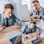 Koláž rozzlobený podnikatel pomocí notebooku v blízkosti papíry a šálek kávy v kanceláři