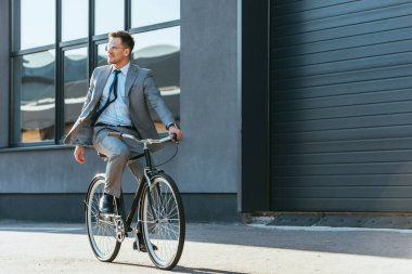 Positive businessman in formal wear and eyeglasses riding bicycle near building