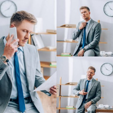 Collage of businessman talking on smartphone and looking at camera near working table in office stock vector