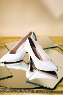 Elegant white heeled shoes on mirror surface stock vector