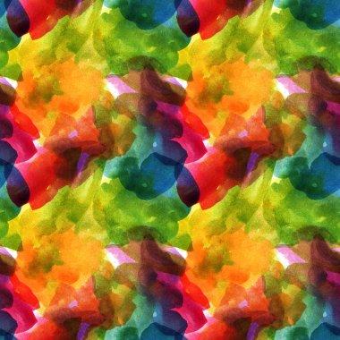 Beautiful hand drawn watercolor seamless pattern. Aquarellebright spots. Autumn colors. stock vector