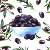 Photo Hand drawn beautiful watercolor illustration olive oil.