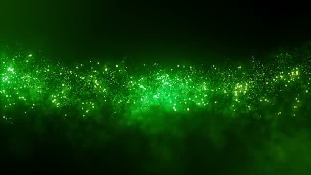 Cinematic Green Particles Abstract Background. Seamless loop.