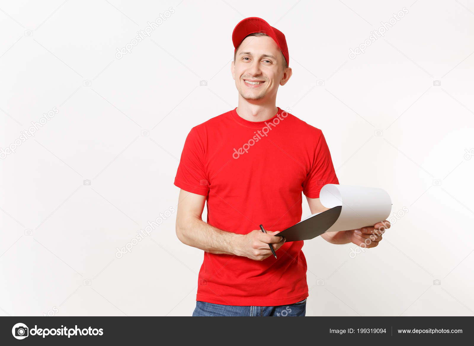 ad091832 Delivery man in red uniform isolated on white background. Male in cap, t- shirt working as courier or dealer, holding pen, clipboard with papers, ...
