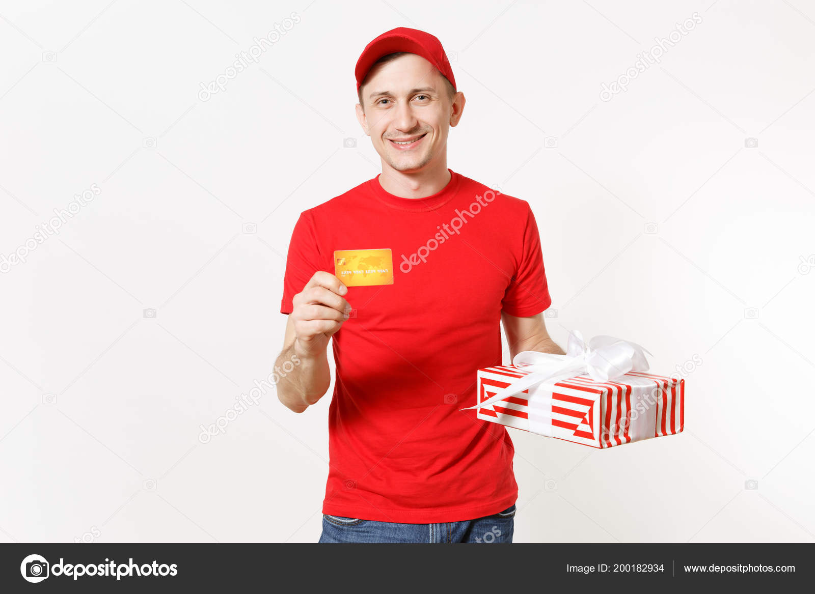 ca3be064d8979 Delivery Man Red Uniform Isolated White Background Male Cap Shirt ...