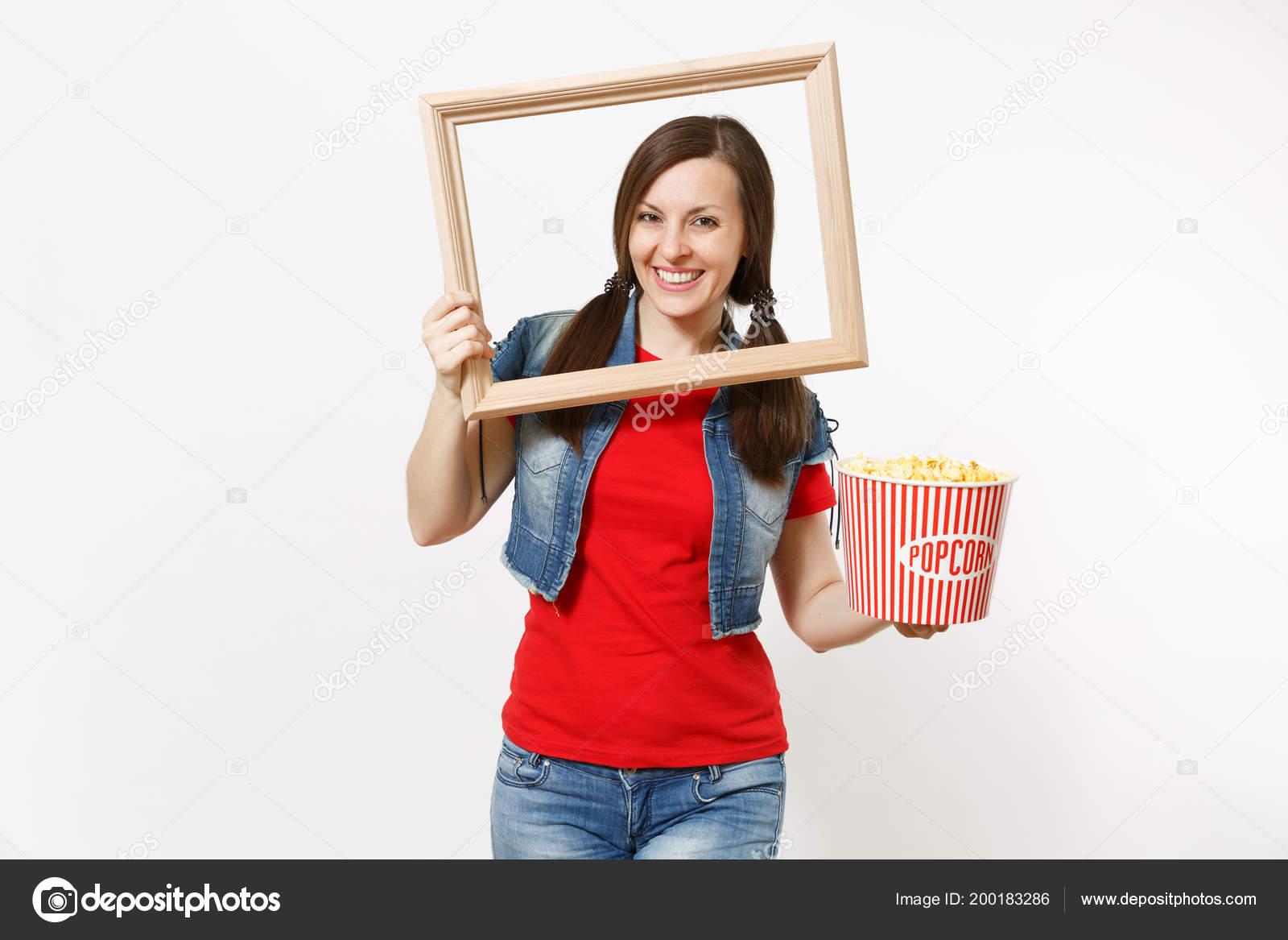 Retrato Joven Sonriente Mujer Morena Atractiva Ropa Casual Ver ...